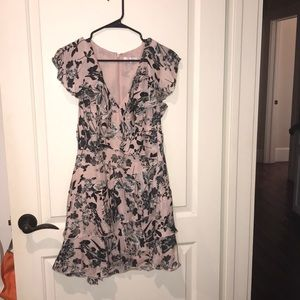 A floral pink and black Parker dress